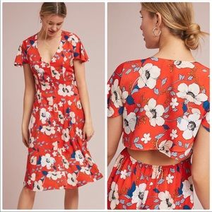 Anthropologie London Rose Regents Floral Dress XSP